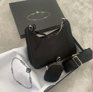 Lona hip-hop luxo bolsa de ombro marca 3a com caixa senhoras de alta qualidade mensageiro bolsa de decoração em forma de coração 2 em 1 saco de compras de nylon