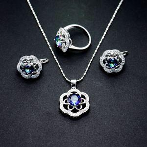 New Pattern Jewelry Suit Petal The Shape Of Zirconium Shi Erhuan Necklace Ring Bride Three-piece