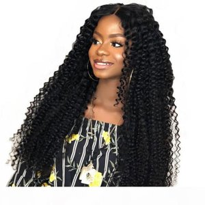 Afro Kinky Curly Human Hair Wig Bleached Knots Virgin Mongolian Pre Plucked Lacefront Human Hair Wigs Curly For African American Women