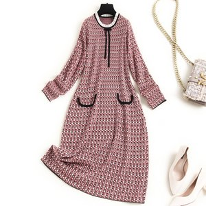 2020 Fall Winter Long Sleeve Round Neck Blue   Red Print Knitted Ribbon Tie Bow Panelled Knee-Length Dress Elegant Casual Dresses ON2816268