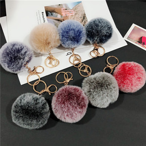 8cm Pom Poms Keychains Faux Rabbit Fluffy Fur Ball Keyring Car Key Ring Charm Key Holder Pendant Jewelry Fashion Accessories Kimter-L982FA
