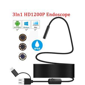 Мини-камере эндоскоп HD 1200P IP68 2M жесткая гибкая трубка MIRCO USB TYPE-C BORESCOPE VIDEO SORPECTION для Android Car Endoscope