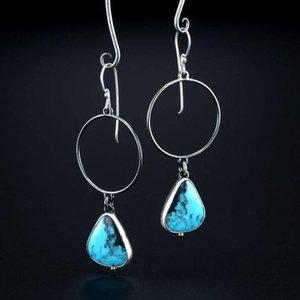 Boho Tribal Eau Drop Stone Turquoise Boucles d'oreilles Femme Vintage Argent Coller Cercle creux Pendentif Boucle d'oreille Boucle d'oreille