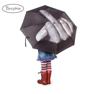 تنكرية المطر المرأة مظلة الرجال يندبروف قابلة للطي المظلة شخصية الأسود الأصابع الأوسط مظلات 201218