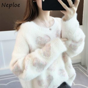 Neploe Fashion Chic Long Sleeve Round Neck Pullover Women Autumn New Loose Knit Top Women Casual Loose Love Heart Sweater 201120