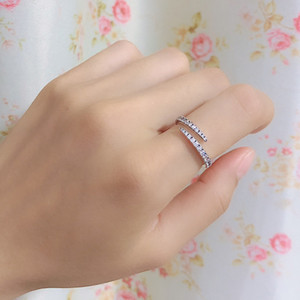 New arrival Lines of Sparkle Ring Women Wedding CZ diamond Jewelry with gift box for 925 Sterling Silver rings set