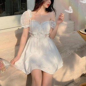 Summer Fairy Dress Women French Lace Puff Sleeve Chiffon Floral Dress Casual Korean Japan Style Sexy Elegant Sweet 2020