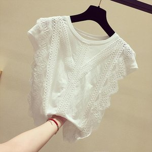 Fashion Clothing Plus Size Solid Shirt Summer 2020 Womens Tops and Blouses Lace Patchwork Blusas Drop Shipping
