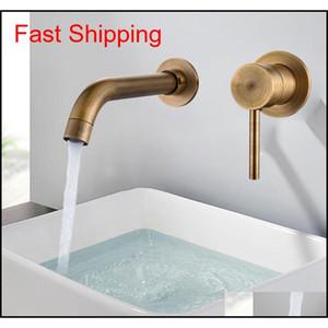 Modern Brass Wall Basin Mixer Tap Bathroom Sink Faucet Swivel Spout Bath Tap Single Lever White Lavatory Sink Mixer Crane Odtuw