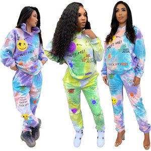 Women Tracksuits Two Pieces Set Designer Tie Dye Printed Positioning Printing Trust Smiling Face Insert Pocket Hooded Outfits Sportwear