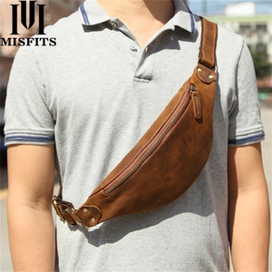 MISFITS Genuine Crazy Horse Leather Packs Men Travel Fanny Pack 120cm Belt Length Male Small Waist Bag For Phone Pouch 201130