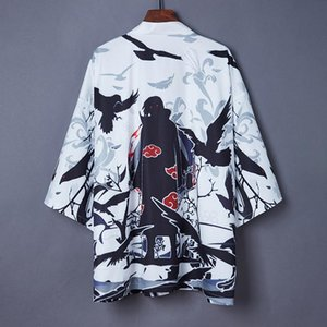 Japanese Kimono Naruto 3D Devil Print Cartoon Short Sleeves Thin Cardigan Coat Retro Vintage Hip Hop Men Women Couple Jacket