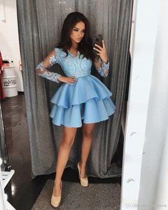 2019 New Cheap Long Sleeve Lace Short Prom Dresses Cocktail Party Homecoming Dresses Vestidos Sweet 16 Dresses Robes De Cocktail