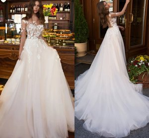 Lace A Line Wedding Dresses 3D Flowers Applique Bohemian Country Gothic Bridal Gowns Illusion Sleeve Buttons Back A Line Vestidos AL7763