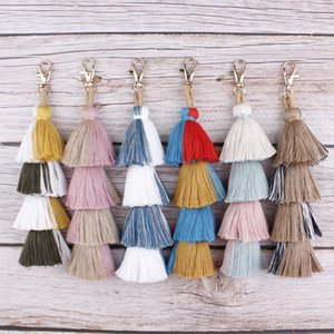 Bohemian 4 Layers Cotton Tassels Keyring for Men Women Bag Car Pendant Keychain Layering Fringe Fashion Key Ring Accessories
