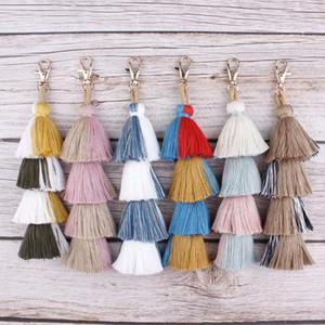 Bohemian 4 Layers Cotton Tassels Keyring for Men Women Bag Car Pendant Keychain Layering Fringe Fashion Key Ring Accessories