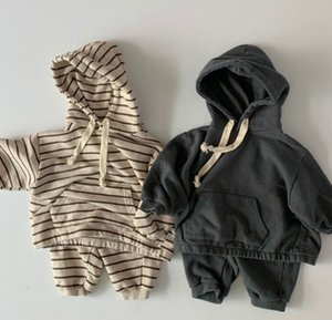 Fashion Children Cotton Sweatshirt Suit Autumn Winter Boys Loose Stripe Casual 2 Piece Suit Hoodies+Pant Girls Sport Wear