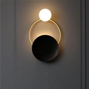 Antique Bronze Wall Sconce Black Wall Lampe Verre Luminaire G9 Ampoule Loft Lampe Intérieur Lampe de nuit Lampes de chevet