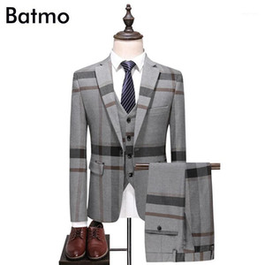 Batmo 2020 new arrival high quality plaid Single Breasted navy blue casual suits men,men's wedding dress,plus-size xs-7xl 61021