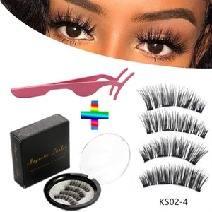 4 pieces of natural magnetic eyelashes, reusable eyelashes, glue-free quantum eyelash curler, easy to wear shipping