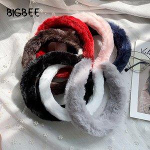 Bañadas de invierno finas para mujeres Headwear Hairbands Turban Lindo Color Sólido Piel Diadema Dulce Scrunchies Accesorios para el cabello
