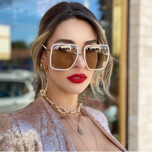 Moda in metallo Donne Occhiali da sole Specchio quadrato Classico GRANDE Frame Occhiali da sole Retro Street Beat Beat Glasses Viaggio UV400