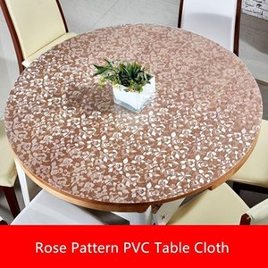 creative 1.5mm thick rose pvc table cloth waterproof PVC round tablecloth transparent oilproof table cloth soft glass mat1