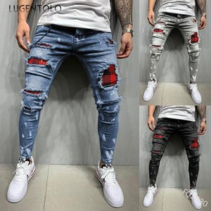 Lugentolo Jeans Spring Autumn Tight Slim Casual Jeans Hole Casual Zipper Fashion Frayed Patch Washed Men's Long Pencil Jenas