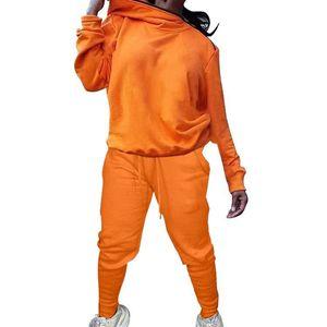 Frauen Reißverschluss Zwei Teile Sets Solide Farbe Kapuzenpullover Sweatshirt Tasche Bleistift Pants Damen Kleidung Anzug