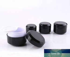 12 X 5g 10g 15g 30g Black Double Wall Plastic Round Cream Bottle Jars Pot Container for Nail Art Gel Glitter Storage