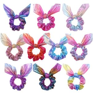 One Pairs Rabbit Bunny Ear Scrunchies Fashion Colorful Tye Dye Velvet Scrunchy Hair Ties for Women Girls Kids