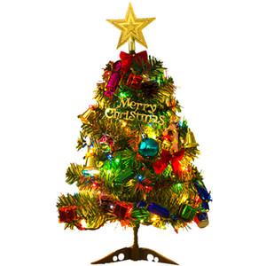 Árbol de Navidad de mesa Mini artificial Mini árbol de pino con luces de cadena LED Decoración de Año Nuevo de escritorio 50 cm JK2010XB