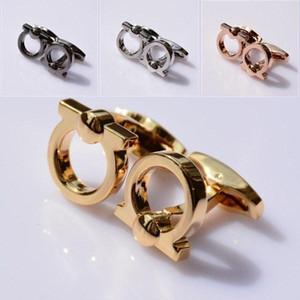 Venda Quente F-R-G-M Alta Qualidade Cufflinks para Homem Melhor Design Modelo 4 Pure Color Horseshoe Forma Moda marca botão