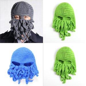 Трикотажные унисекс Men Octopus Beanie Tentacle Squid Caps Caps шерсть лыжи лица маска шапки морские монстры вязание крючком шапочки cthulhu осьминоги halloweed2