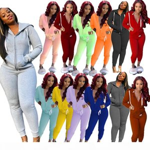 Cardigan Hooded Women Tracksuits 2 Piece Sets Long Sleeve Stripe Womens Hoodies Tops Sweatpant Casual Womens Sports 2020