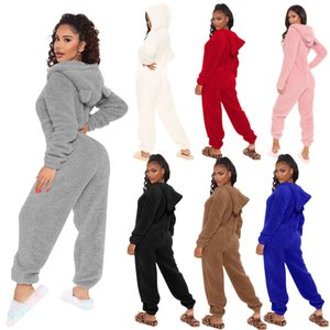 Women's Jumpsuits Solid Color Plush Hood With Ears Long Sleeve Home Clothes Warm In Winter Lovely Ladies Like