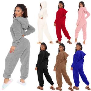 Jumpsuits femininos cor sólida cor de pelúcia com orelhas manga comprida casa roupas quentes em inverno linda senhoras como