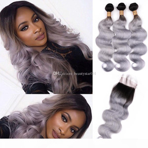 1B Grey Ombre Hair Bundles With Closure Two Tone Brazilian Body Wave 3 Bundles Human Hair With Lace Closure Remy Hair Extension