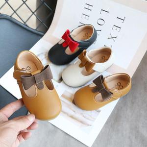 Плоские туфли 2021 для девочек кожа для детей Butterfiy Knot Свадебные дети Принцессы подросток Детка D01232
