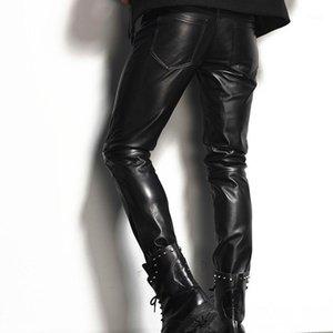 Erkek Pantolon İtalya Erkek Hakiki Deri Sıska Artı Boyutu Motosiklet Biker Slim Fit Erkek Turers Rock 100% Gerçek Inek Derisi Kalem Pantolon1