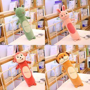 Cilíndrico Animais de Pelúcia Brinquedo Longo Corpo Kawaii Standing Monky Bunny Frog Lion Pilked Body Body Sleeping Companion 4 tamanhos Y1209