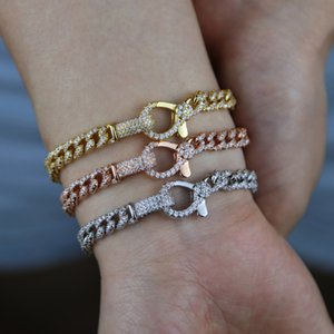 Iced out fashion big lock lobster Charm bling micro pave cz cuban link chain bracelet 16.5cm 17.5cm fashion women jewelry F1201