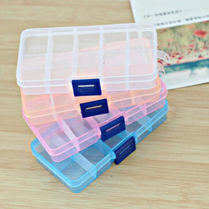 10 Grids Adjustable Transparent PP Plastic Storage Box for Small Component Jewelry Tool Box Bead Earrings Small Storage Boxs