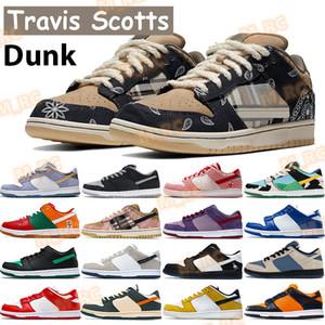 Nouvelle libération Sean Shadow Dunk Basketball Chaussures Travis Scotts Chunky Dunky Pro Muslin Black Brésil Infrarouge Pin Pine Pine Pine Vert Orange Hommes Sneaker