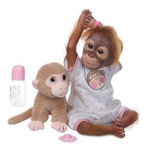 20 Inch Realistic Doll Soft Silicone Vinyl Newborn Babies Monkey Lifelike Handmade Toy Children Birthday Gifts 54DF Z1127