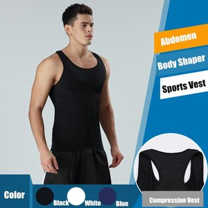 Men's Slimming Body Shaper Abdomen Control Waist Trainer Vest Breathable Fitness Tank Tops Black White Cincher Girdle Undershirt