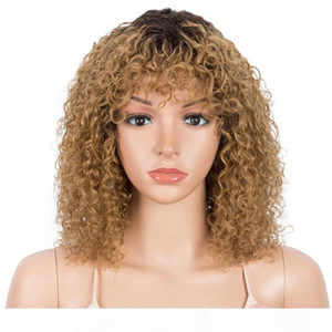 Styeticon Curly Human Human Wigs para Mulheres Afro Afro Kinky Curly Pixie Cut Wig Remy Ombre Blonde Wigs com franja