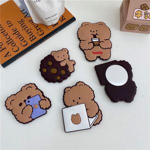 Korea ins cute girl heart milk tea bear mobile phone bear makeup mirror mini silicone portable makeup mirror student