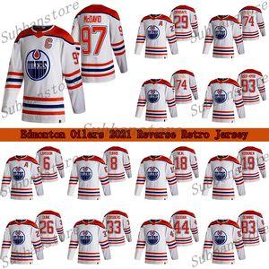 Oilers Edmonton 2021 Reverse Retro Jersey 97 Connor McDavid 29 Leon Draisaitl 74 LNB 74 Ethan Bear Hockey Jerseys
