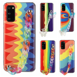 Wrist Grip Rainbow Color IMD TPU Soft Case For Samsung S30 Plus S20 FE Ultra Note 20 S10 A41 A51 A71 A21S A42 Colourful Phone Cover Strap